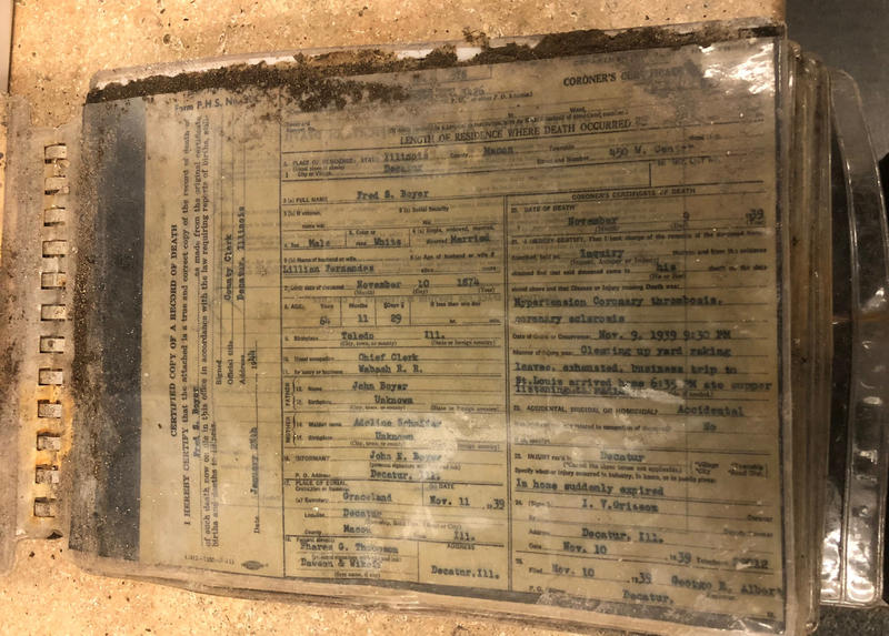 Marriage, birth and death certificates are among the items in the binder found on Big Pine Key.