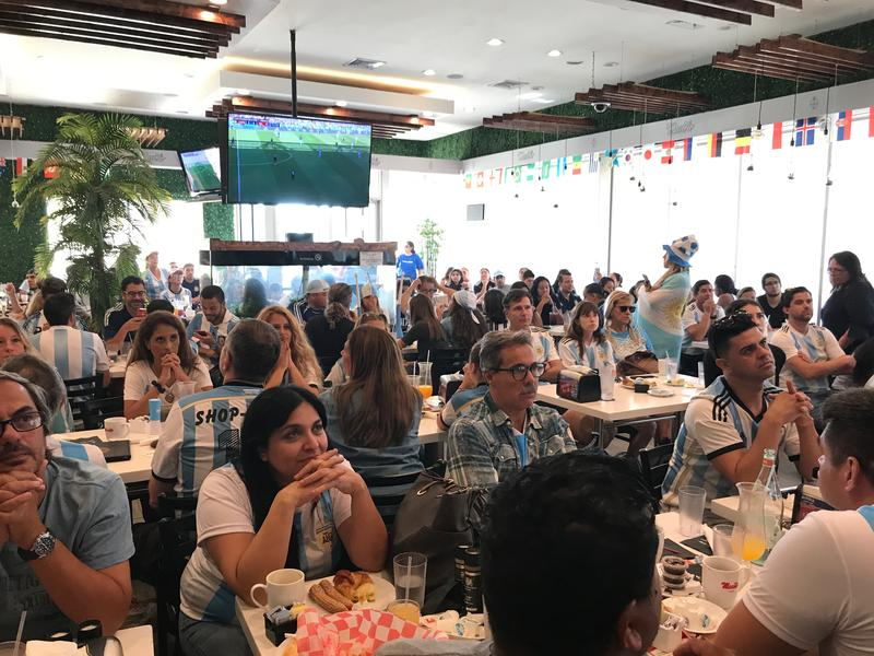 More than 100 Argentina soccer fans watched Argentina's first match on Saturday morning at Manolo's in Miami Beach, Fl.