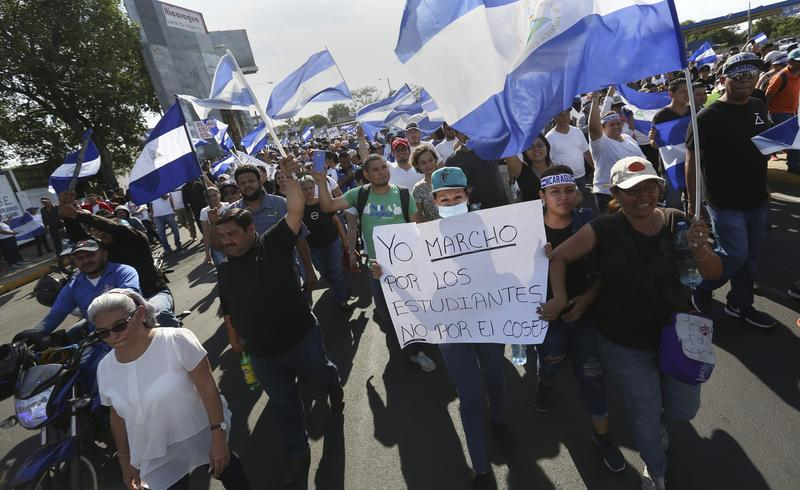 Anti-government protesters marching in Managua, Nicaragua, this week.