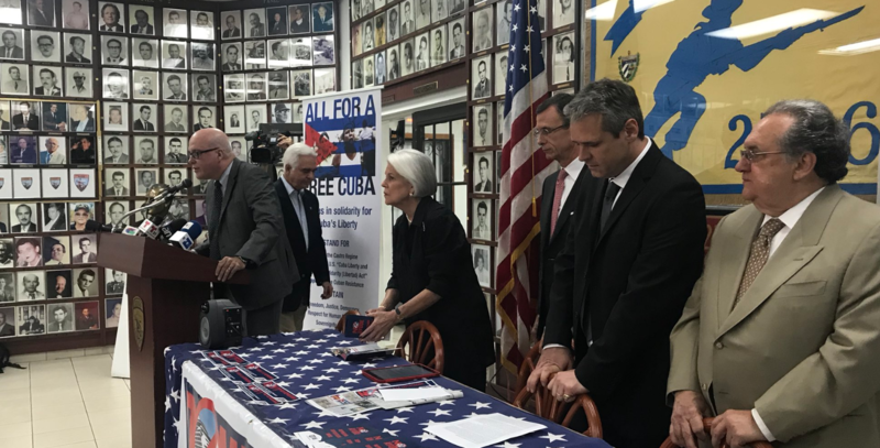 Leaders of the Assembly of the Cuban Resistance denouncing tourism to Cuba at a press conference in Little Havana on Wednesday.