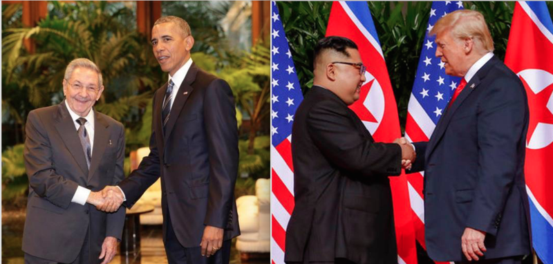 Then President Obama and then Cuban President Raul Castro meet in Havana in 2016 (right); President Trump and North Korean leader Kim Jong Un meet in Singapore this week.