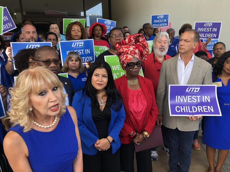 From left, Miami-Dade County school board member Maritere Rojas, United Teachers of Dade president Karla Hernandez-Mats, board member Dorothy Bendross-Mindingall and state Rep. Robert Asencio offer their support for a referendum to raise property taxes.