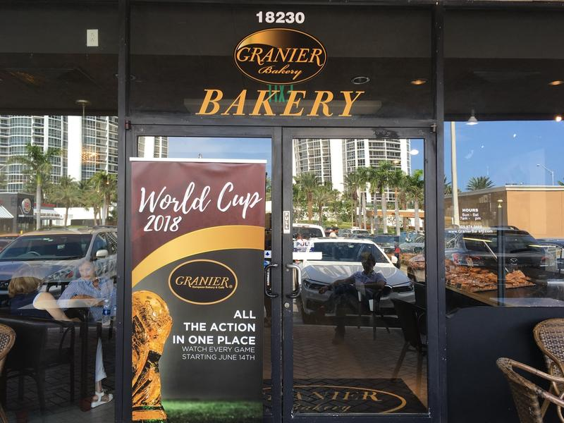 Sign advertising Granier Bakery's World Cup festivities in Sunny Isles.
