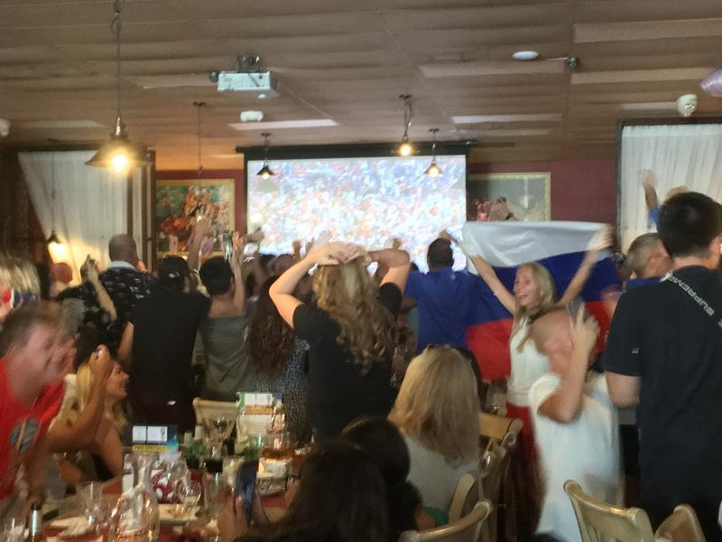 The crowd at Old Samovar exploding after Russia scored its second goal against Croatia.