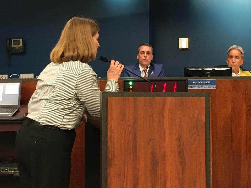 Ft. Lauderdale education activist Mary Fertig urging the commissioners to pass budget that is fair on water-sewer fund.