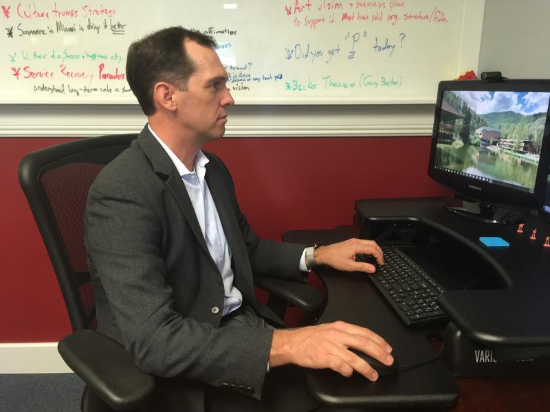 Seraphic Fire executive director Rhett Del Campo, working at the group's Coral Gables offices
