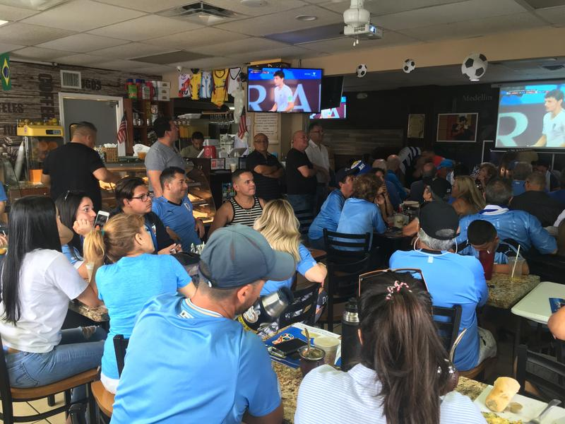 Crowd of fans clad in Uruguay baby blue at Al Pan Pan restaurant in West Palm.