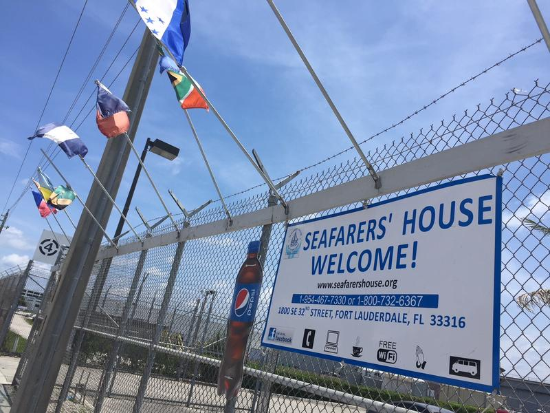 Flags from coutnries around the world welcome visitors to the Seafarer's House in Port Everglades.
