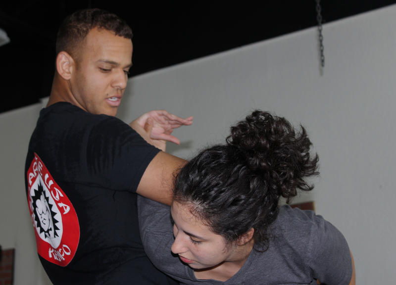 Students practice Brazilian Jiu-Jitsu moves under a six-week self-defense course by nonprofit End Rape Culture.