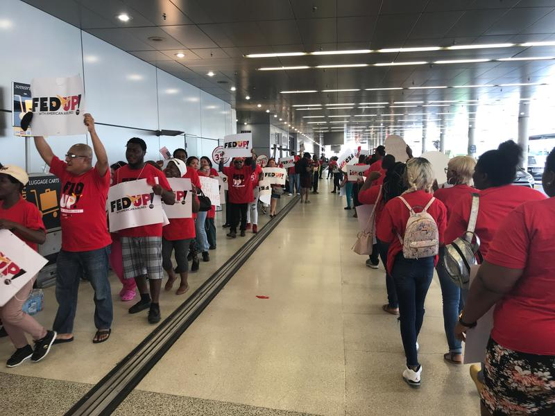 Flight catering and concession workers held a protest for higher wages on Tuesday at Miami International Airport.