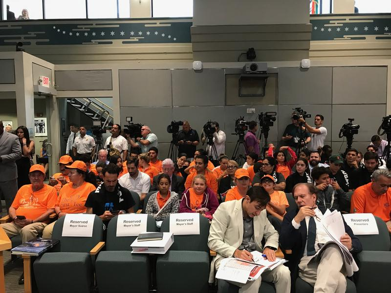 Supporters and opponents of the proposal packed the Miami City Hall chamber on Wednesday for the all-day meeting on Beckham's proposal.