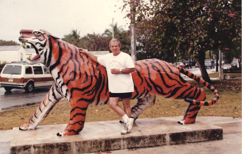 Artist George Carey, who designed and oversaw building of the tiger statue in the 1980s.