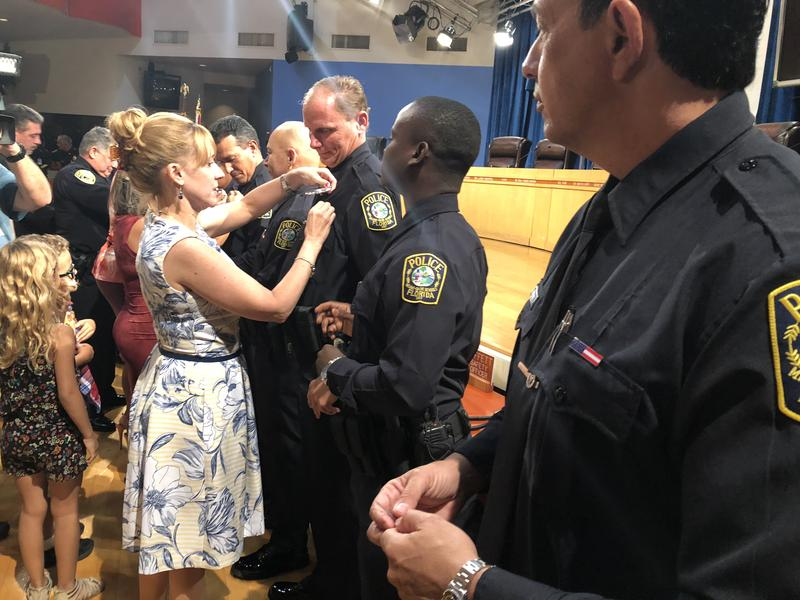 A new class of Miami-Dade County Schools Police was sworn in on Tuesday morning at the district headquarters in downtown Miami.