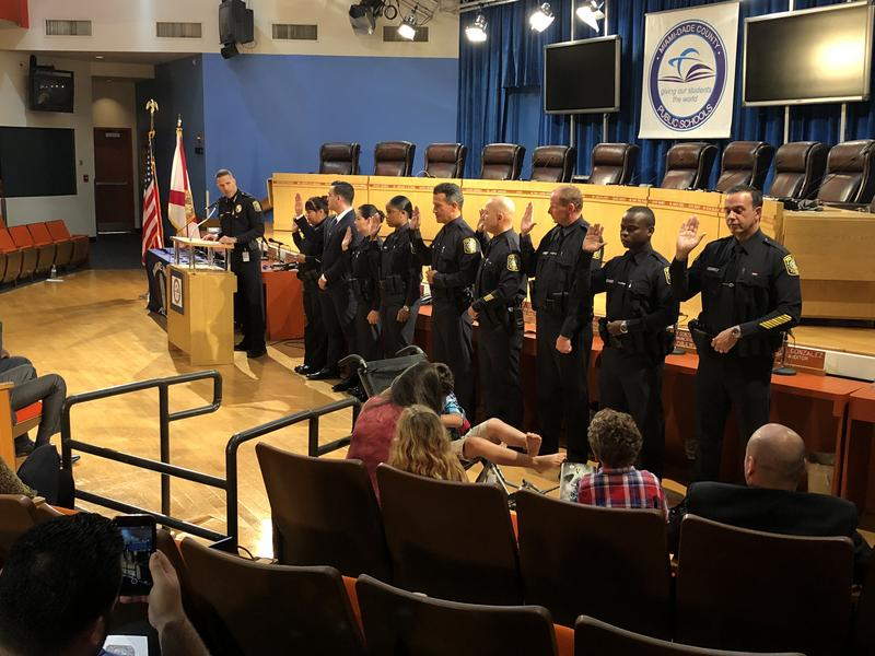 The newest Miami-Dade school resource officers includes a veteran art teacher who decided to change careers and a couple of retired police from the city of Hialeah.