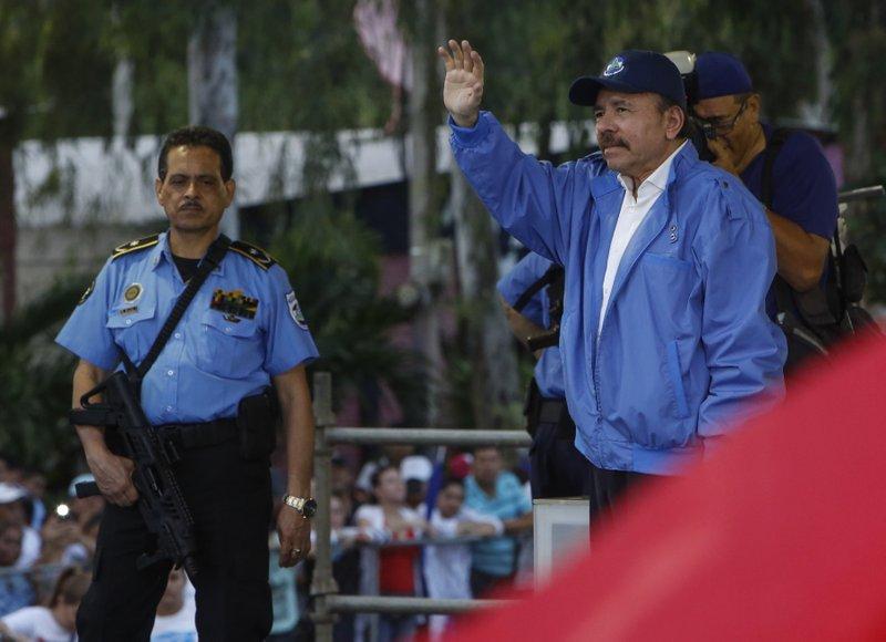 Nicaraguan President Daniel Ortega waves to supporters last Saturday in Managua.