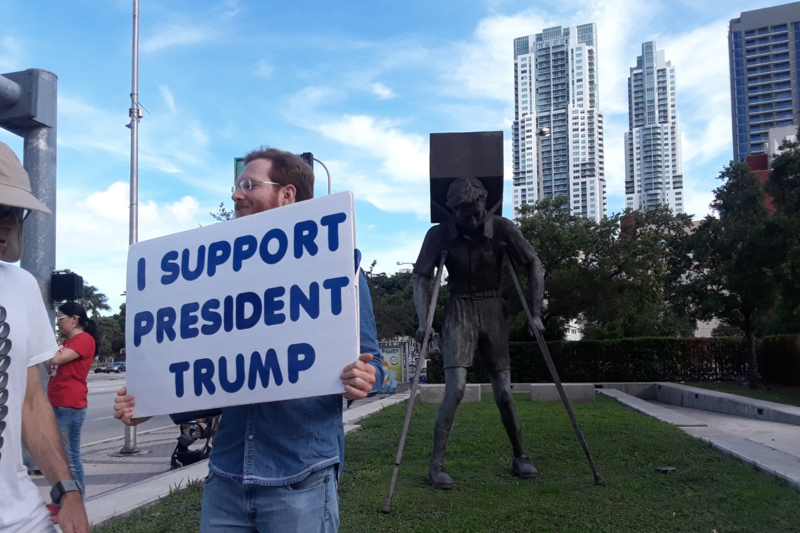 Some president Trump supporters also showed up to defend the administration's immigration policies.