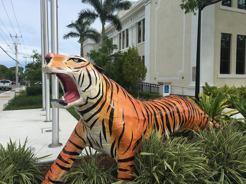 Key West is the land of the Conch - but a tiger statue guards City Hall on White Street.