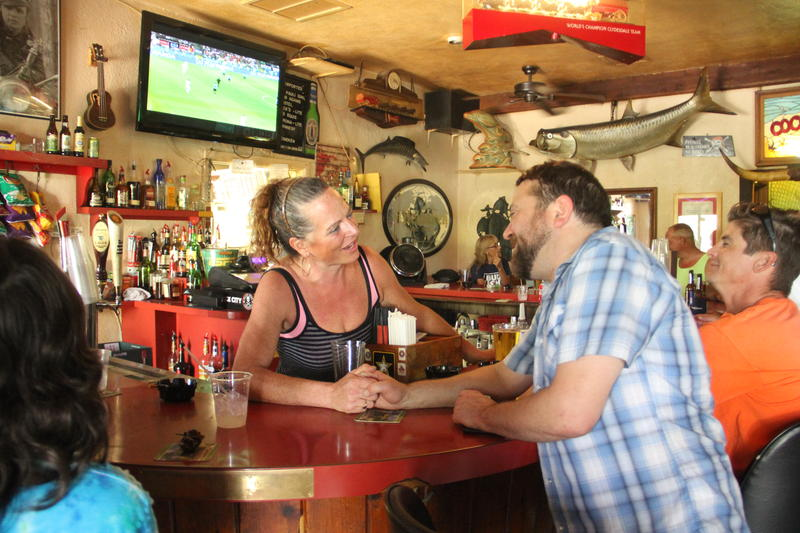 Debby Zutant tends bar at Coconut's on Big Pine Key on weekends.