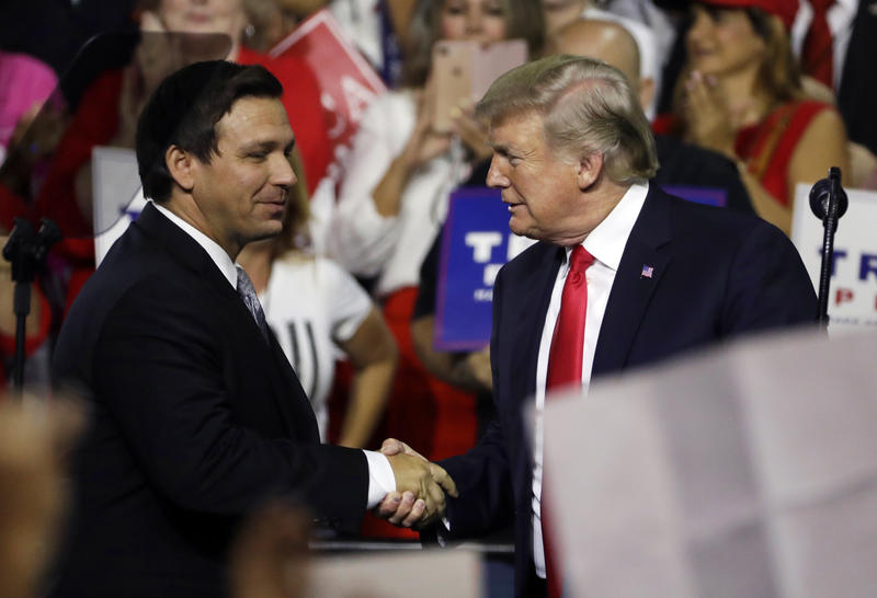 In this July 31, 2018, file photo, President Donald Trump (right) shakes hands with Florida Republican gubernatorial candidate Ron DeSantis during a rally in Tampa, Fla.