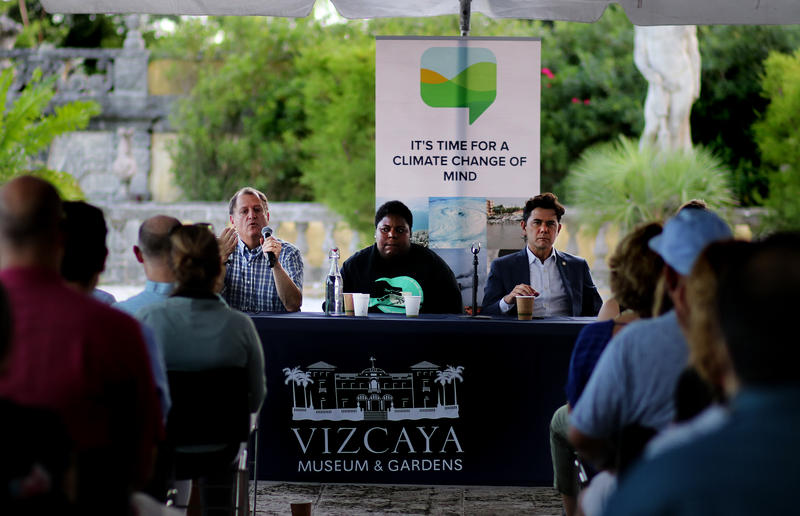 Ben Kirtman, left, director of the Climate and Environmental Hazards Program at the University of Miami, Valencia Gunder, center, a community activist, and Ken Russell, right, a City of Miami Commissioner, talk about Climate Gentrification.