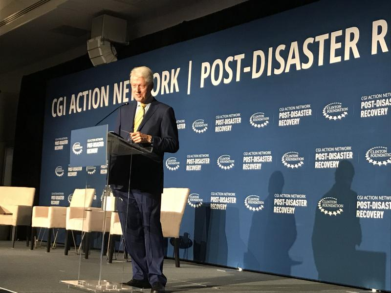 Former President Bill Clinton said the changing climate is making efforts to help communities prepare for and recover from disasters all the more important.