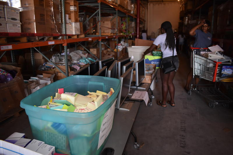All of the items at the warehouse have been donated by businesses to The Education Fund, an organization founded as a way for the private sector to help improve public education.