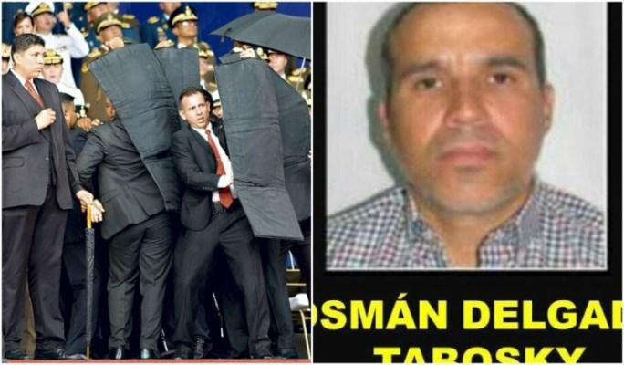 Venezuelan security guards shield President Nicolas Maduro as drones explode overhead in Caracas on August 4 (left); a government wanted poster accusing Venezuelan exile Osman Delgado of financing the drone attack.