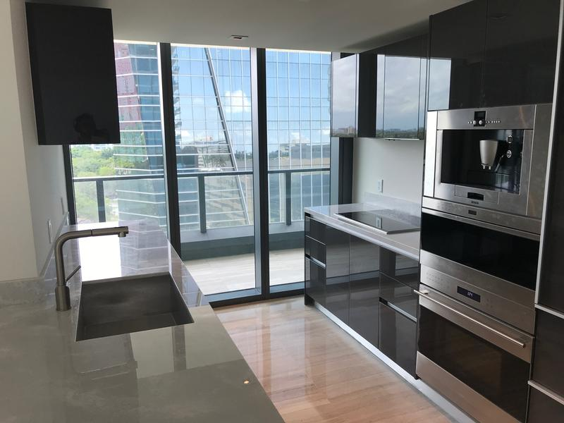 The kitchen of a vacant condo at Echo Brickell features high-end appliances. The unit has been on sale since February.