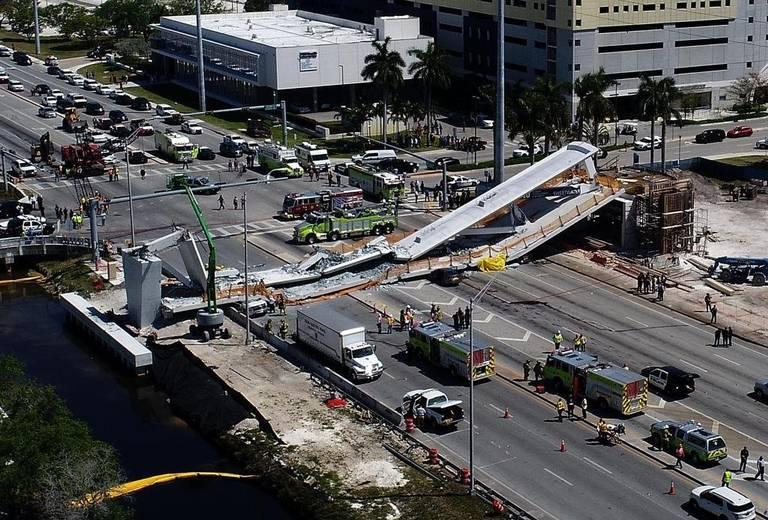The FIU-Sweetwater UniversityCity Bridge was reduced to rubble when it collapsed in a 950-ton heap on March 15, 2018. Five motorists and one worker died. On Saturday, March 10, 2018.