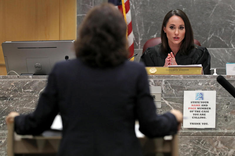 Broward Circuit Judge Elizabeth Scherer addresses Sun Sentinel attorney Dana McElroy during a hearing on Wednesday, August 15, 2018 about the school district's petition to hold the newspaper in contempt for the publishing of legally obtained information.