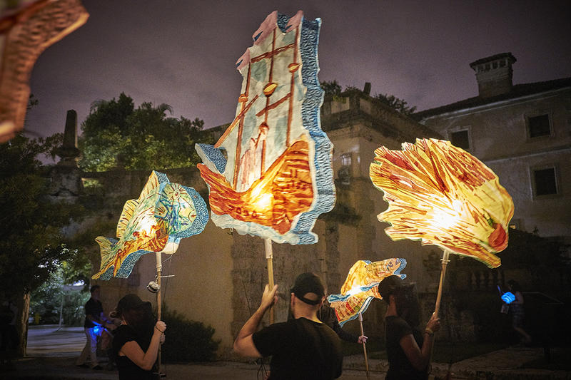 Illuminated laterns will be floating in Vizcaya Museum and Gardens on Saturday.