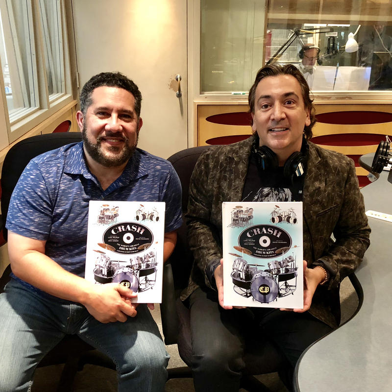 "Host Luis Hernandez (left) interviews David Frangioni (right) author of a new book called ""Crash: The World's Greatest Drum Kits."""