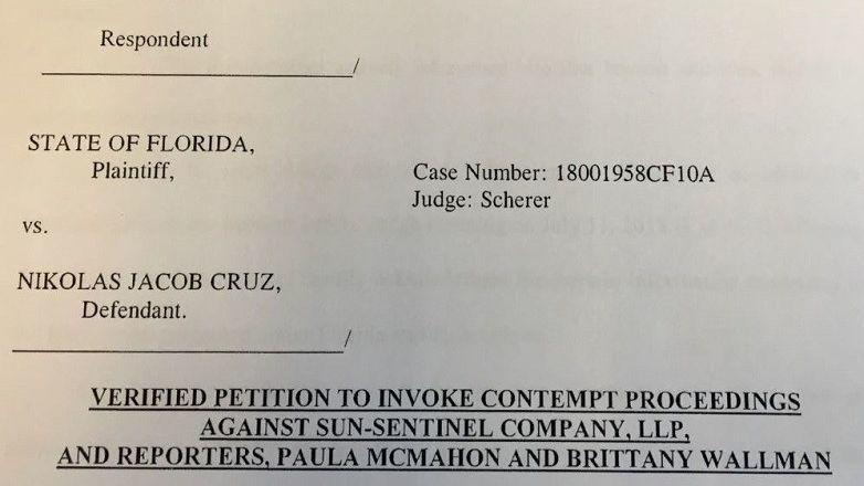 In a court filing, the Broward County School Board alleges the South Florida Sun Sentinel intentionally published information it knew a judge had ordered to be redacted.