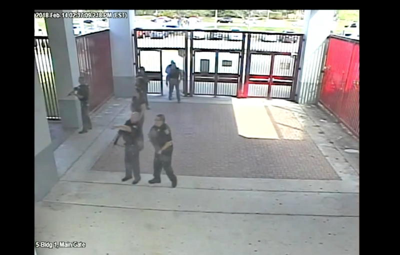 Video released by the Broward Sheriff's Office show law officers entering the school shortly after Nikolas Cruz opening fire killing 17 people at Marjory Stoneman Douglas High School in Parkland, Florida on Feb. 14, 2018.