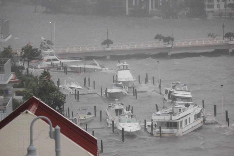 From the window of his condo, Victor Roldán watched as wind and storm surge tossed boats around the Four Ambassadors Hotel marina during Hurricane Irma.