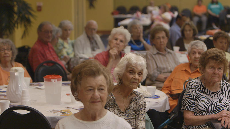 """A meeting of the Democratic Club of the Wynmoor Retirement Community. Wynmoor is featured in the new documentary, """"A Greater Society."""""""