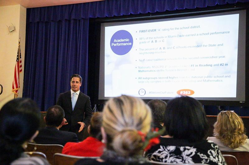 Miami-Dade County Public Schools superintendent Alberto Carvalho gives a presentation during a recent town hall meeting on referendum No. 362 at a middle school in Coral Gables. The Palm Beach County district also has a referendum on the ballot.