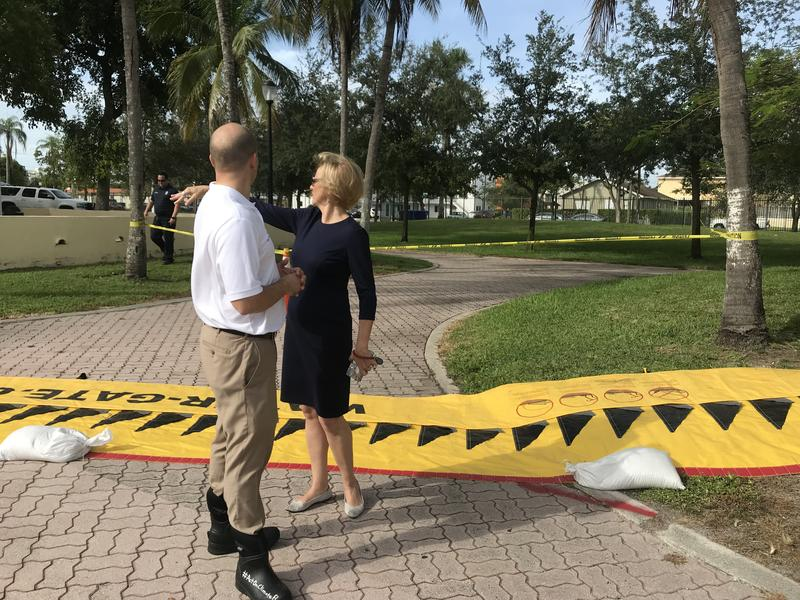Sen. Jose Javier Rodriguez and Miami-Dade Commissioner Eileen Higgins were among local officials who showed up to scope out possible King Tide flooding at Jose Marti Park in Little Havana on Tuesday.