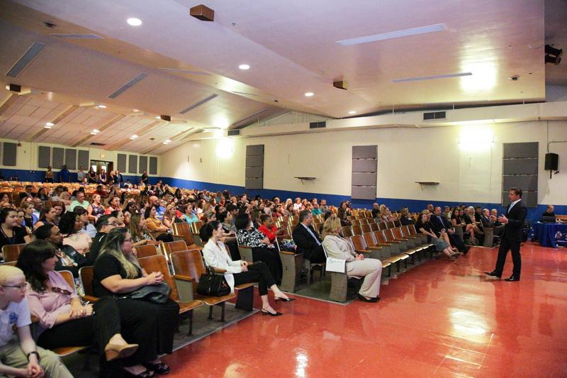 Miami-Dade County schools superintendent Alberto Carvalho presents during a town hall on the upcoming property tax referendum at Ponce de Leon Middle School in Coral Gables.