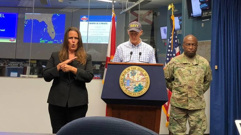 Gov. Rick Scott speaking at a briefing at the state Emergency Operations Center in Tallahassee on Sunday, Oct. 7, warned Floridians and local governments to take serious precautions ahead of Tropical Storm Michael.