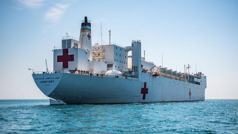 The USNS Comfort Navy hospital ship