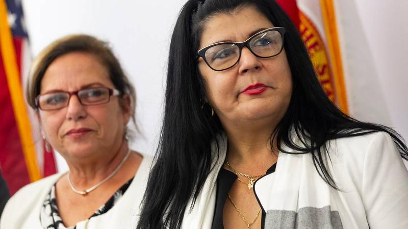 Cuban doctors Ramona Matos (left) and Tatiana Caraballo at press conference Friday in Doral announcing the suit against the Pan-American Health Organization.