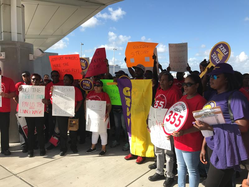 Fort Lauderdale-Hollywood International Airport workers rallied on Thursday for a higher Broward County living wage.