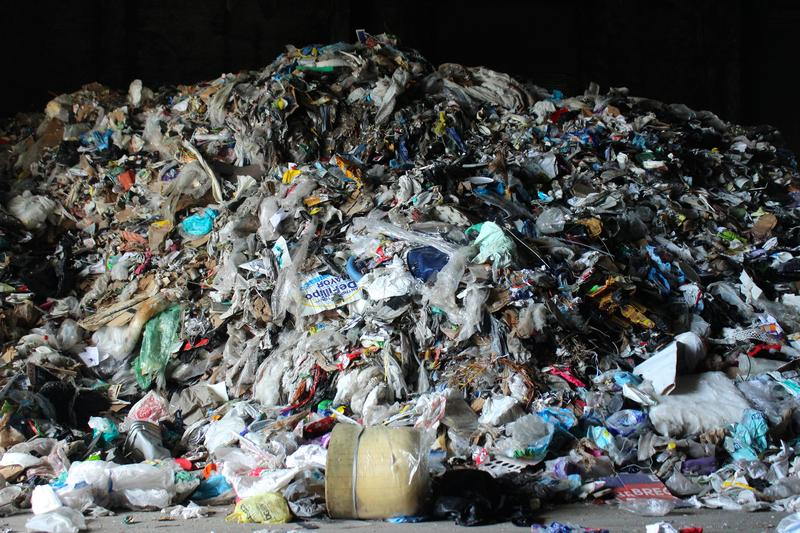 Around 30 percent of recycled material brought into Reuters Recycling Facility in Pembroke Pines is contaminoted and not recyclable. This is a mound of contaminated material