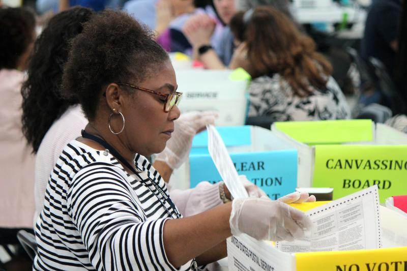 Hundreds of volunteers gathered for the Florida Commissioner of Agriculture race hand recount on Saturday, Nov. 17, 2018.