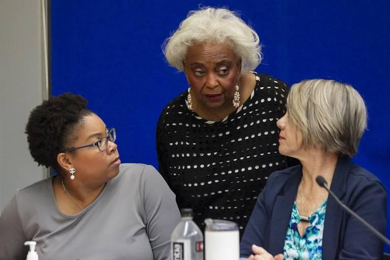 Broward Elections Supervisor Brenda C. Snipes, center, at her offices in Lauderhill, Florida as the canvassing board reviews ballots on Saturday, November 10, 2018.