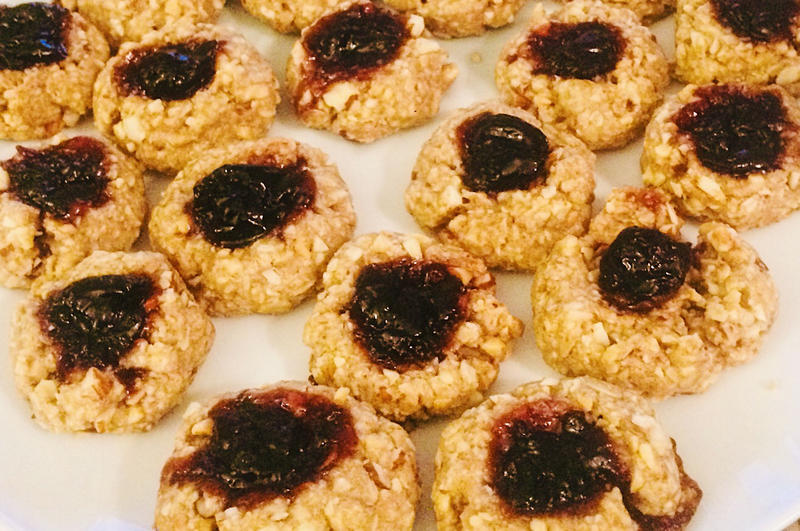 Thumbprint Jam Cookies are one of many vegan treats you can make on Thanksgiving Day.