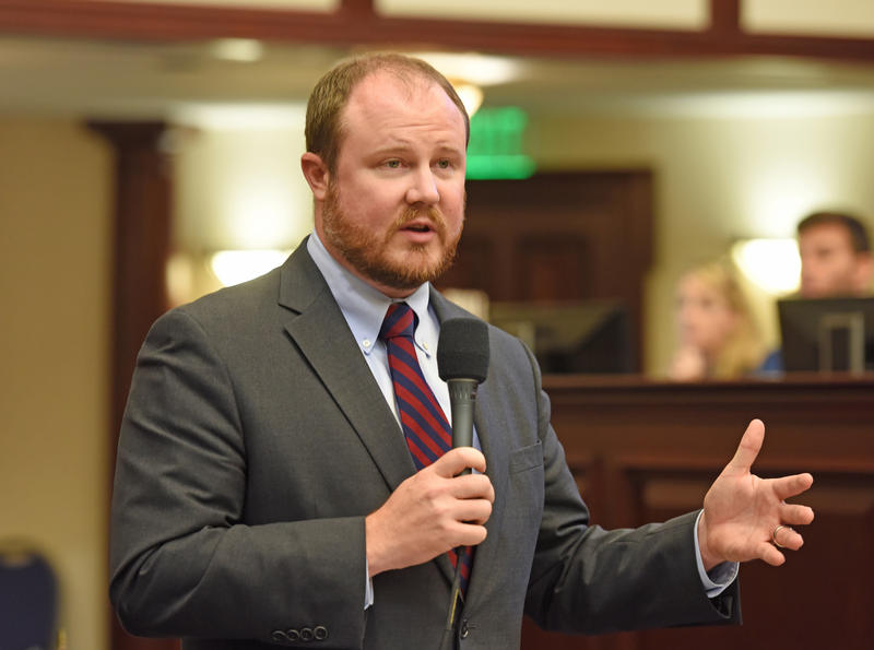 Republican state Rep. Matt Caldwell debates on the floor of the Florida House of Representatives in May 2017. He served in the House for eight years before running for agriculture commissioner. He narrowly lost to Democrat Nikki Fried.