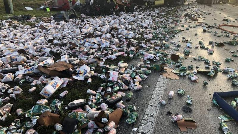 A semi truck crashed and spilled thousands of cans of soda it was carrying across the roadway and shoulder of County Road 74 in Charlotte County Tuesday morning. Two other semis were involved in the fatal crash.