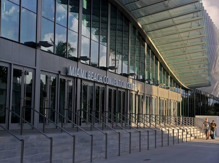 Sunlight hits the east entrance of the newly renovated Miami Beach Convention Center in Miami Beach.